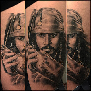Healed and hairy pic of mr. Sparrow. Did this at Helsinki Ink 2016 #markuskoskela #downundertattoo #tatuointistudio #tatuointiliike #lappeenranta #jacksparrow #jacksparrowtattoo #jhonnydepp